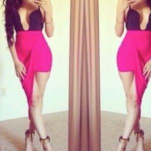 Pink Hi Low Wrap Asymmetrical Skirt
